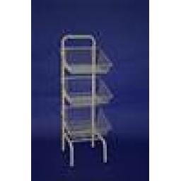 WHITE 3 BASKET DISPLAY(DUMPER BIN) STAND RETAIL SHOP FITTINGS