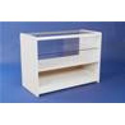 GLASS WHITE SHOWCASE DISPLAY COUNTER 1200MM RETAIL SHOP FITTING