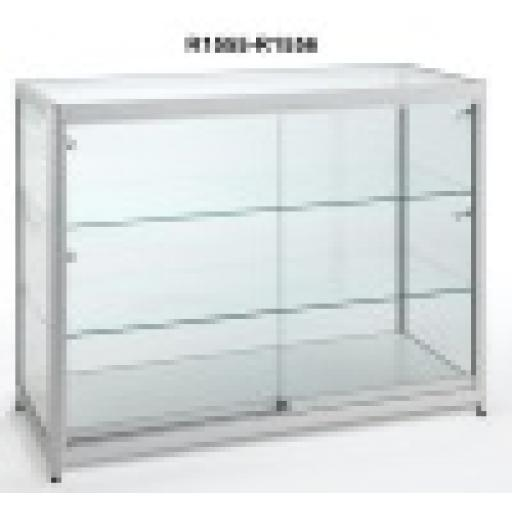 GLASS SHOWCASE COUNTER 1000MM X 500MM DISPLAY ALUMINIUM FRAME RETAIL SHOP FITTINGS