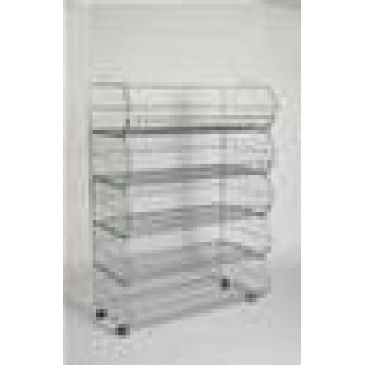 5 STACK BASKET DISPLAY UNIT RETAIL SHOP FITTING+WHEELS