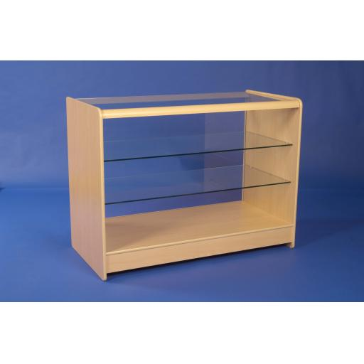 GLASS MAPLE SHOWCASE COUNTER 2 SHELF 1200 SHOP FITTING