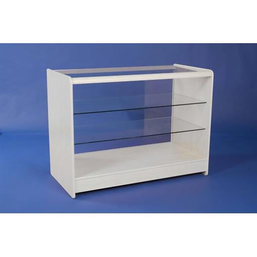 GLASS WHITE SHOWCASE DISPLAY COUNTER 2 SHELF 1200 SHOP FITTING