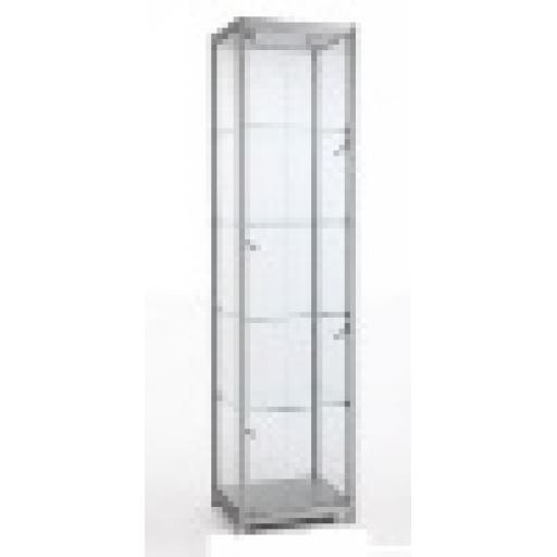 GLASS LOCKABLE TOWER SHOWCASE DISPLAY ALUMINIUM FRAME 600MM X 400MM RETAIL SHOP FITTINGS