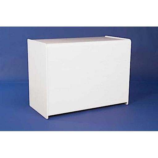 WHITE SOLID SHOP DISPLAY UNIT 1200mm RETAIL CASH TILL COUNTER FITTINGS