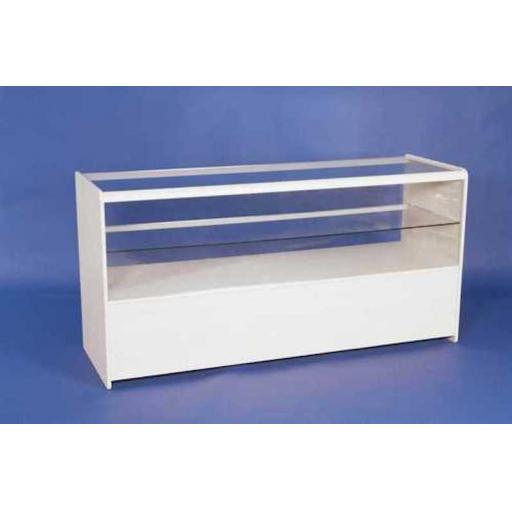 GLASS WHITE SHOWCASE COUNTER 1800MM RETAIL SHOP FITTING