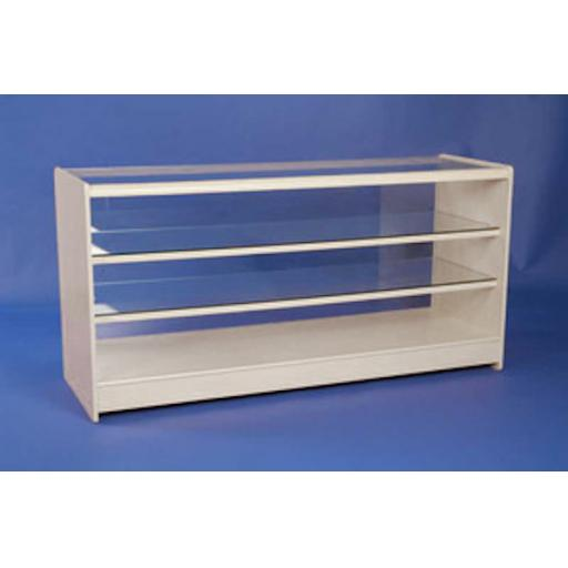 GLASS WHITE SHOWCASE COUNTER 2 GLASS SHELF 1800MM RETAIL DISPLAY SHOP FITTING
